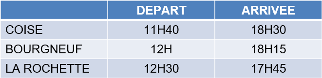 Horaires bus section loisir